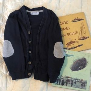 H&M Navy Blue Cardigan with Grey elbow patches 4-6